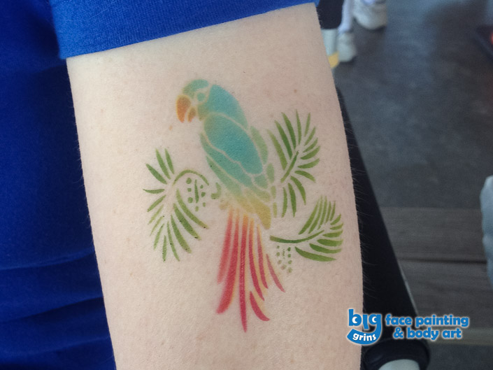 Big Grins Airbrush Temporary Tattoo Tropical Bird