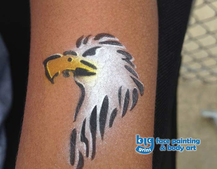 Big Grins Airbrush Temporary Tattoo of Eagle