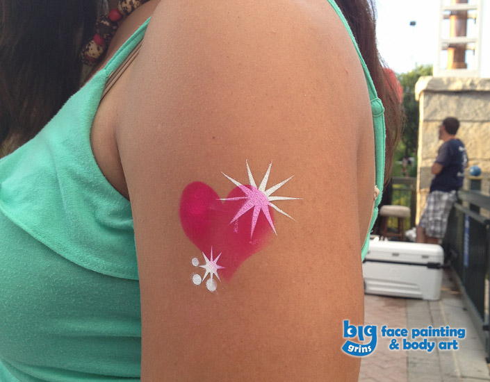 Big Grins Airbrush Temporary Tattoo of Hear and Sparkles