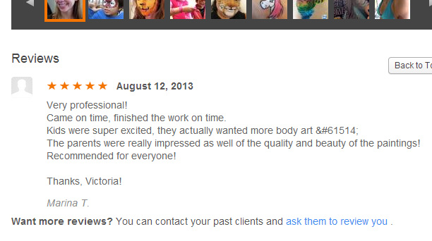 picture and link to Thumbtack review of Big Grins Face Painting and Body Art
